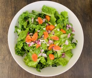 Romaine Lettuce with Onion and Tomato